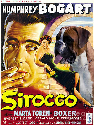 Boxer Painting - Boxer Dog Art Canvas Print - Sirocco Movie Poster by Sandra Sij