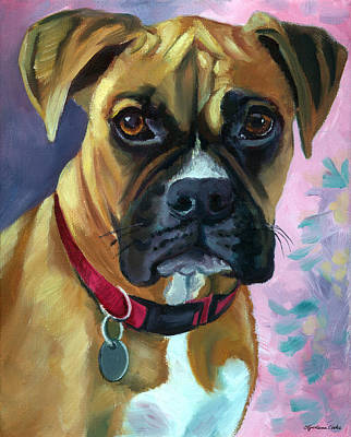 Puppies Painting - Boxer Dog Portrait by Lyn Cook