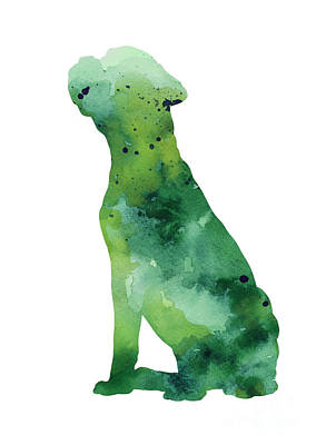 Boxer Abstract Art Painting - Boxer Dog Silhouette Watercolor Art Print Painting by Joanna Szmerdt