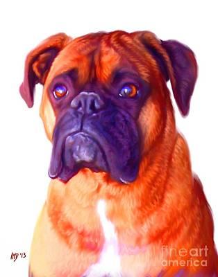 Commission Boxer Painting - Boxer Dog White Background by Iain McDonald