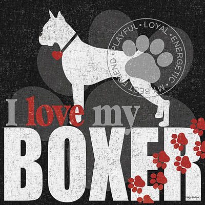 Boxer Art Print by Kathy Middlebrook