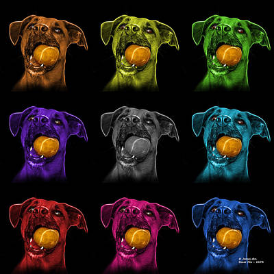 Digital Art - Boxer Mix Dog Art - 8173 - Bb - M by James Ahn