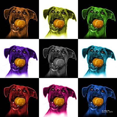Digital Art - Boxer Mix Dog Art - 8173 - V1 - M by James Ahn
