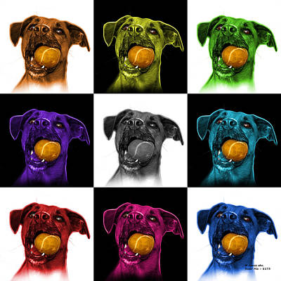 Mixed Media - Boxer Mix Dog Art - 8173 - V2 - M by James Ahn