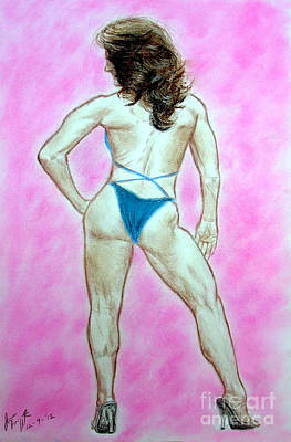 Hot Drawing - Boxer Mma Fighter Body Builder And Fitness Model Franchesca Alcanter by Jim Fitzpatrick