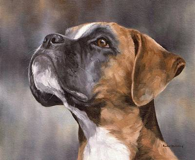 Boxer Painting Original by Rachel Stribbling