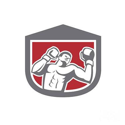 Punching Digital Art - Boxer Punching Boxing Shield Retro by Aloysius Patrimonio