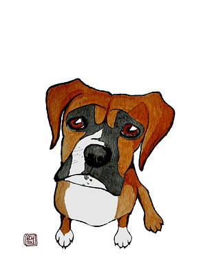 White Boxer Dog Painting - Boxer by Richard Williamson