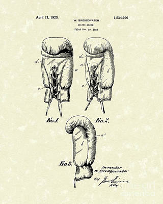 Gloves Drawing - Boxing Glove 1925 Patent Art by Prior Art Design