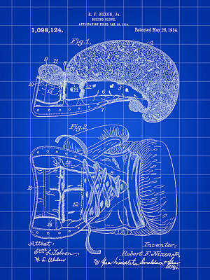 Knock Digital Art - Boxing Glove Patent 1914 - Blue by Stephen Younts