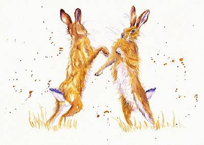 Boxing Hares Original by Debra Hall