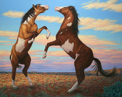 Paint Horse Painting - Boxing Horses by James W Johnson