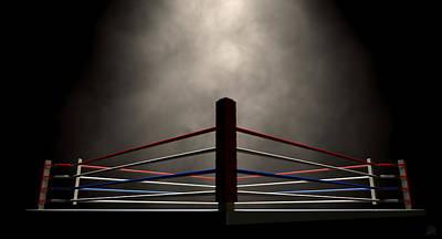 Fight Digital Art - Boxing Ring Spotlit Dark by Allan Swart
