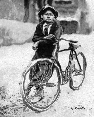 Boy And Bicycle Art Print by George Rossidis
