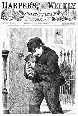 Dog Rescue Drawing - Boy And Dog, 1868 by Granger