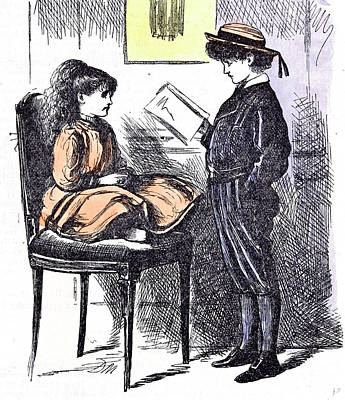 Boy And Girl Drawing - Boy And Girl Learning 1873 Practice Holiday Interior by English School