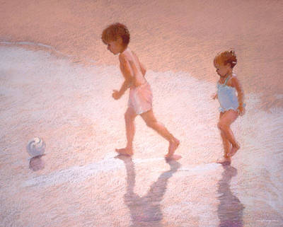 Boy And Girl W/ball Art Print by J Reifsnyder