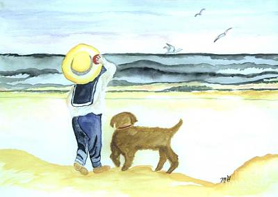 Boy And His Dog Art Print by Marsha Heiken
