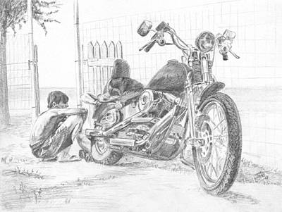 Boy And Motorcycle Art Print