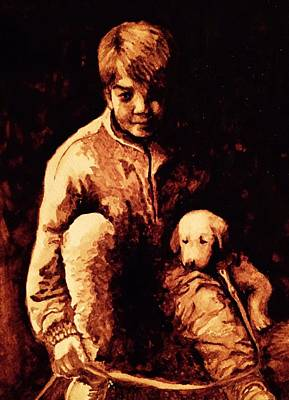 Coffee Painting - Boy And Puppy by Julee Nicklaus