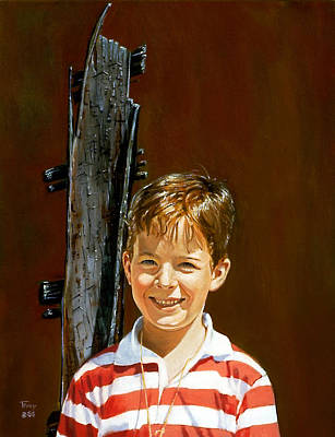 Treehouse Painting - Boy At Old Treehouse by Robert Tracy