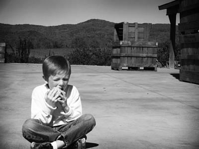 Photograph - Boy At The Apple Farm by Kelly Hazel