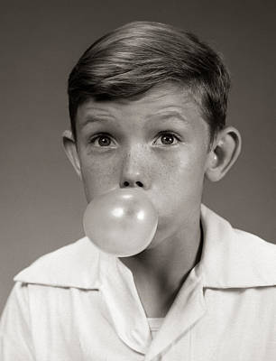 Impish Photograph - Boy Blowing Bubble With Gum, C.1940-50s by H. Armstrong Roberts/ClassicStock