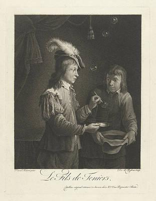 Boy Blowing Bubbles, Lambertus Antonius Claessens Art Print