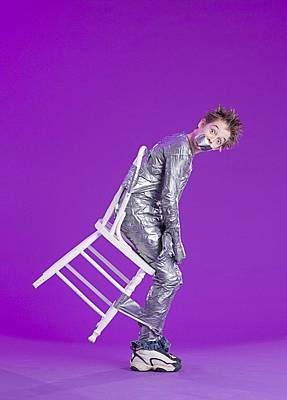 Boy Bound By Duct Tape Print by Ron Nickel