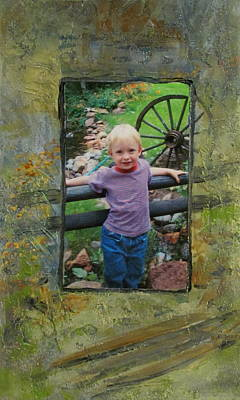Fence Mixed Media - Boy By Fence by Anita Burgermeister