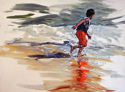 Painting - Boy Chases Waves On Beach by Christine Montague