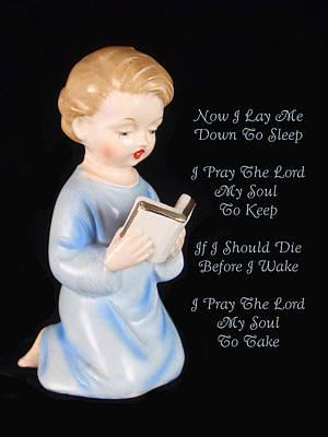 Boy Childs Bedtime Prayer Art Print by Kathy Clark