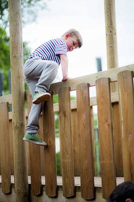 Candid Photograph - Boy Climbing Over Wooden Fence by Samuel Ashfield