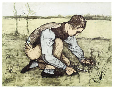 Impressionism Drawing - Boy Cutting Grass With A Sickle by Vincent Van Gogh