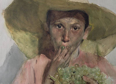 Youth Painting - Boy Eating Grapes by Joaquin Sorolla y Bastida
