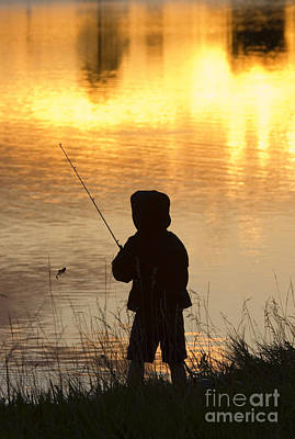Steven Krull Royalty-Free and Rights-Managed Images - Boy Fishing at Sunset by Steven Krull