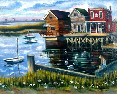 Painting - Boy Fishing In Broad Channel by Madeline  Lovallo