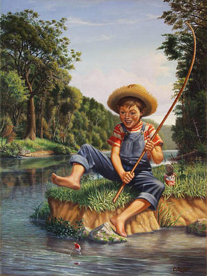 Folkart Painting - Boy Fishing In River Landscape - Childhood Memories - Flashback - Folkart - Nostalgic - Walt Curlee by Walt Curlee