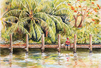 Boy Fishing With Dog Original by Janis Lee Colon