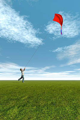 Kites Photograph - Boy Flying A Kite by Carol & Mike Werner