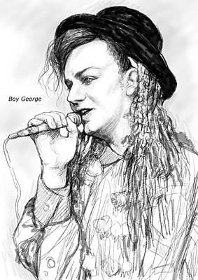 Boy George Painting - Boy George Art Drawing Sketch Portrait by Kim Wang