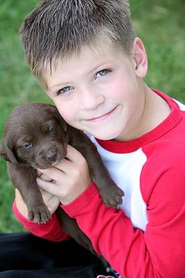Boy Holding Puppy Art Print by Colleen Cahill