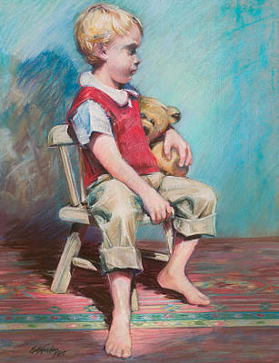 Pastel - Boy In Chair by Beverly Amundson
