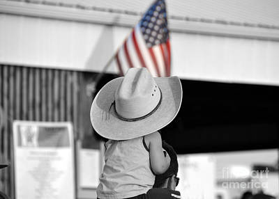 Scifi Portrait Collection - Boy in Cowboy Hat With American Flag by Catherine Sherman