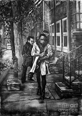 Philadelphia Street Drawing - Boy In Heels by Devon Reiffer