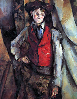 Boy In Red Waistcoat By Cezanne Art Print