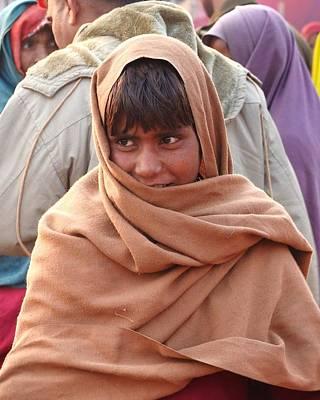 Photograph - Boy In Shawl - Kumbhla Mela - Allahabad India 2013 by Kim Bemis