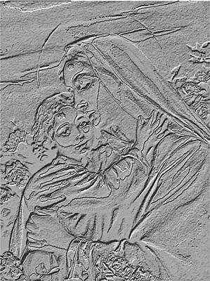 Mother Mary Digital Art - Boy Jesus And His Mother Mary Silver Sculpture - Religious Art by Banonoke-Art