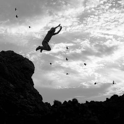 Boy Jumping With Birds Art Print