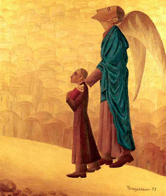 American Jewish Artists Painting - Boy Leading The Blind Angel by Israel Tsvaygenbaum